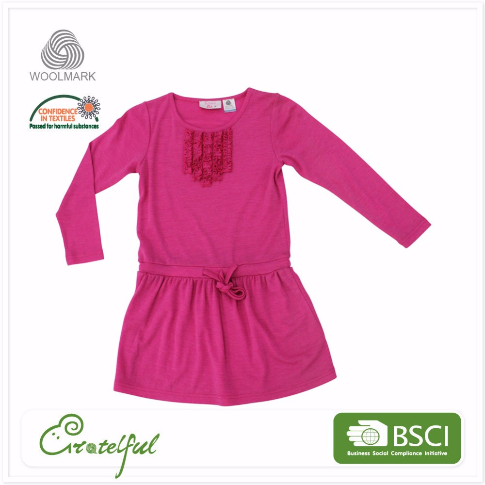 latest long sleeve casual baby girl beautiful children wool dress designs wholesale