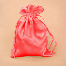 Fashionable custom colorful drawstring satin bags wholesale