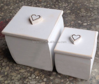 wooden white painted nested type box