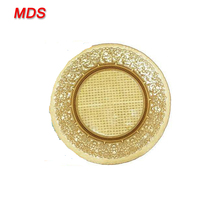 China hotel cheap bulk glass gold dinner charger plates for sales