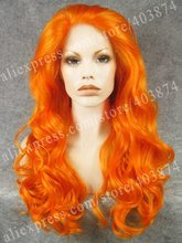 Orange Cosplay Synthetic lace front wig orange curly drag queens wig