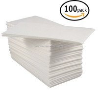 Disposable Cloth-Like Tissue Paper, Hand Napkins / Linen-Feel Guest Towels, White, Pack of 100