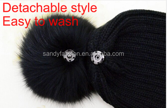 2015 Fashion Charm Beanie Knit Hats Wholesale Fox Fur Pom Poms Wool Winter Hats