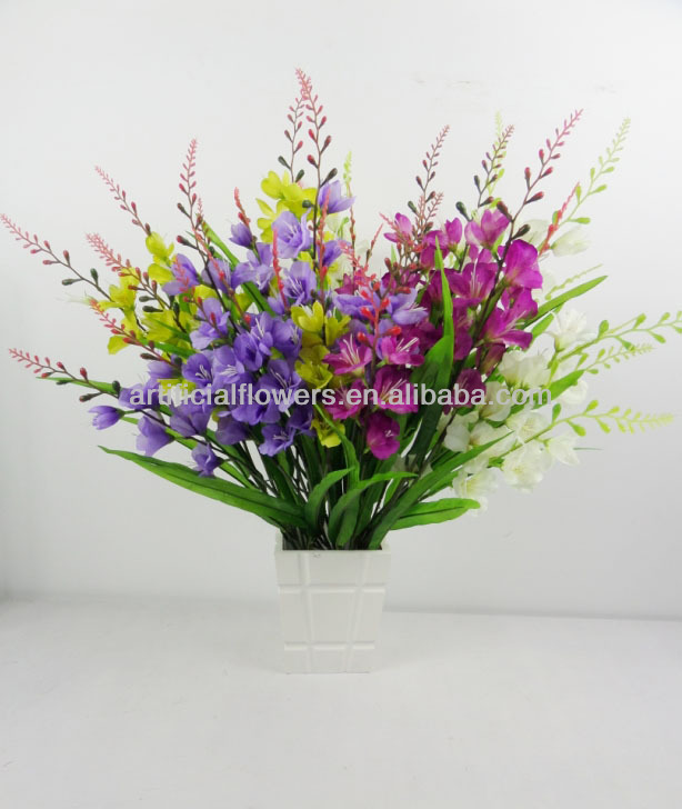 2014 cheap silk plastic artificial/fake flowers gladiolus wholesale
