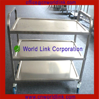 3 Layers Kitchen Stainless Steel Wheel Cart