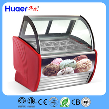 Huaer 1.2m/1.5m(47''/59'')Commercial Ice Cream display Freezers/Curved Glass Ice Cream Dipping Cabinets/ice cream chest showcase