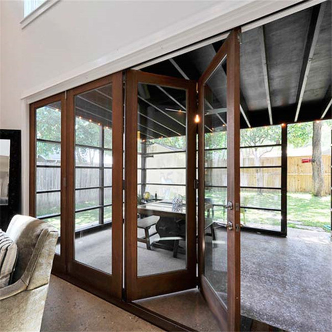 Wood grain surface Aluminum frame insulated Glass sliding folding doors Designs