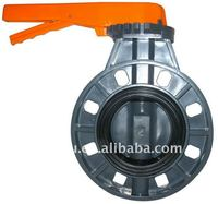 pvc-u orange handle butterfly valve EPDM seat SS304 shaft flange connection