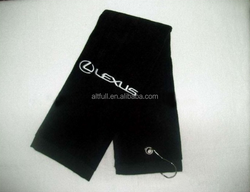 Custom design sports logo sublimation printing golf towel china supplier