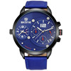 new fashion casual quartz watch men large dial waterproof chronograph leather wrist watch