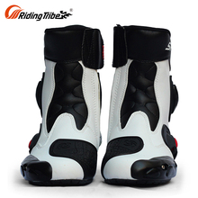 High Top Cool Mens Leather Motorcycle Touring Speed Boots Red With Zipper