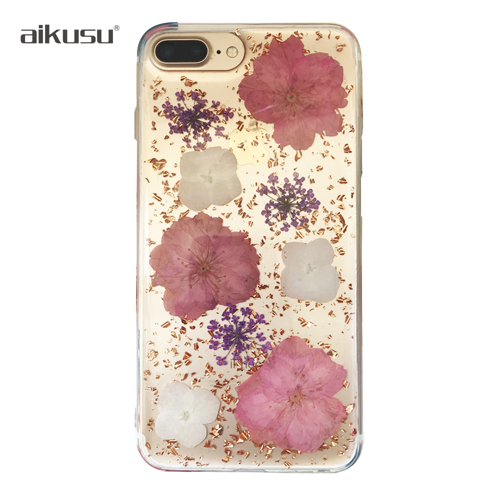amazon hot selling diy cute pressed real flower mobile phone <strong>cover</strong> for iphone 6s case