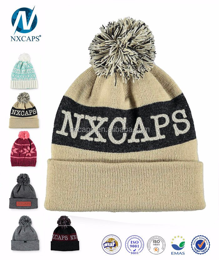 beanie hat,winter warm  jacquard beanies hat,slouch  jacquard beanie kint hat,2015 2016 Promotional Custom hot sell colorful beige jacquard Beanie pom Hat With Leather Patch,nxcaps Shenzhen Fashion Trading Company Limited.jpg