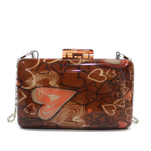 Good looking lovely heart printing personalize acrylic evening bag