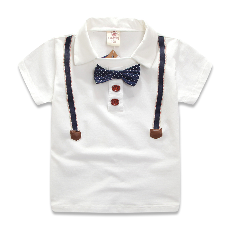 New 2015 Summer Style Children Boys Clothes Kids Tshirt Cotton Turn Down Collar Short Sleeve T Shirt With Bow Tie Boy Tops Tee