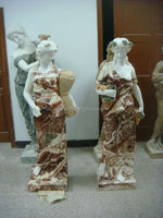 multicolor women marble sculpture