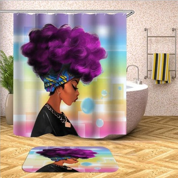 Sexy Skirt Girl Bathroom Shower Curtain Waterproof Fabric African Woman Shower Curtain And Bath Rug Set for Bathroom Decoration