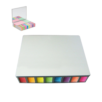 Printed Colorful Sticky Note and Flag Desk Set With Mirror