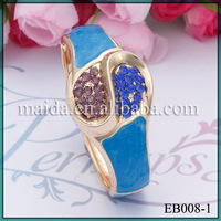 Latest Fashion Gold Plated Colorful Crystal Watch Design Women Bangle EB008-1