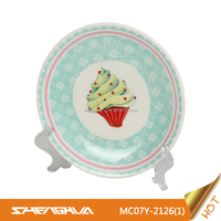 Durable New Bone China Ceramic Plate with Cake Design