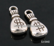9*20.5mm Moneybag silver plated acrylic CCB beads