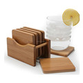 Heavy duty Bamboo 6 Pieces Square Coaster set cup mat with Holder