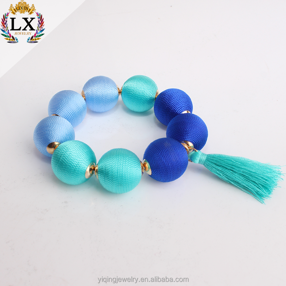 BYQ-00541 high quality latest design wrap thread ball bracelet bon bon bracelet silk thread bracelet with shambala beads