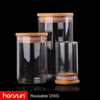 Square round shape transparent 450ml glass canister with bamboo lid