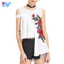 2017 Asymmetrical Floral Rose Appliques Sexy Summer Tops Fashion Embroidery Zip Back Casual Blouse