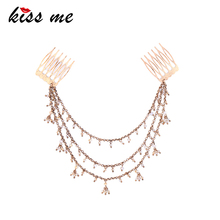 ts00183 Antique Gold Plating Fairy Bead Pendant Multilayer Chain Online Fashion Jewelry Hair Combs Accessories Women