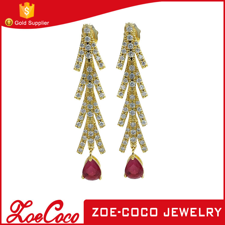 wholesale gold plated and environmental copper alloy zircon stud earring