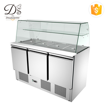 China manufacturer salad bar undercounter freezer refrigerator with glass cover