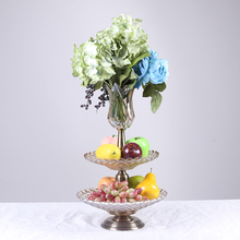wedding table centerpiece decorative golden metal stand fruit plate with flower vase