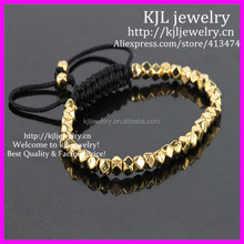 KJL-BD5263 Wholesale Gold Faceted Nugget Beads Bracelet,Handcrafted Braiding 4.5mm Gold Nugget Beads Macrame Bracelet