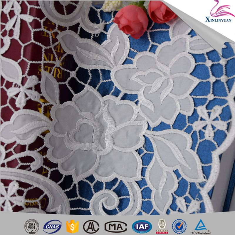 2018 African embroidery white chemical lace fabrics for dressmaking