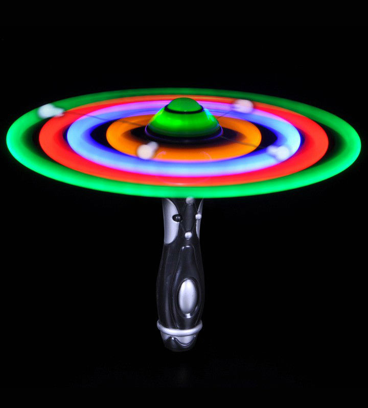 New Hand-Held LED Flashing UFO Spinning Alien Space Wand Toy for Kids Galaxy Spinner