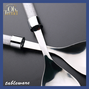 Custom stainless steel cutlery set with white handle buy bulk dinnerware sets tableware with diamond