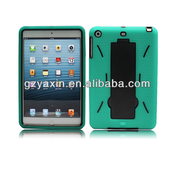 Low MOQ Robot Case For iPad mini 3 in 1 Cover / Inside PC Outside Silicon Smart Case For iPad Mini Kickstand Silicon Case