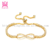fashion stainless steel infinity love bracelet gold plating