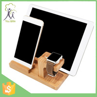 2016 hot selling cell phone desktop wood bamboo stand holder for iphone 6s bluetooth smart watch
