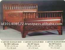 Carved Sleigh Bed Mahogany Indoor Furniture.