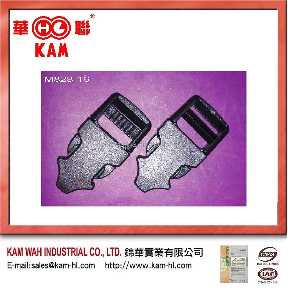 Side relese plastic belt buckles for backpacks