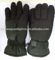 winter black ski gloves with leather
