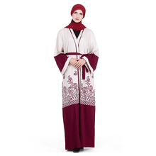 Zakiyyah LR101 Latest <strong>Muslim</strong> Women <strong>Abaya</strong> with Belt Red Print Elegant Design Dubai Kimono <strong>Abaya</strong> Wholesale