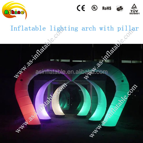 Custom outdoor LED lighting inflatable advertising finish line arch with pillar