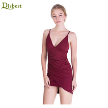 Disbest Pencil Bodycon Sleeveless Halter Deep V neck Slim Womens Cocktail Evening Dinner Dress