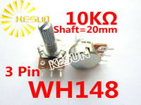 WH148 B10K 20mm 3Pin 0.5W 10K OHM Linear Taper Rotary Carbon Potentiometer