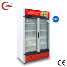 C0 2 big glass door pepsi coke display cooler 588L