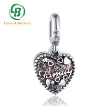 Custom family charms engraving 925 Sterling silver heart locket pendant