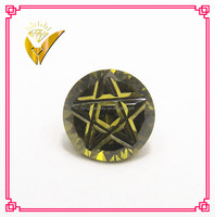 olive round shaped star cutting on facet loose cz stone